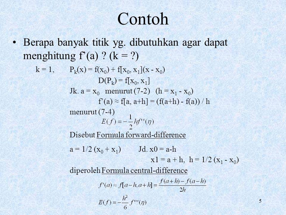 Contoh Berapa banyak titik yg. dibutuhkan agar dapat menghitung f'(a) (k = ) k = 1, Pk(x) = f(x0) + f[x0, x1](x - x0)